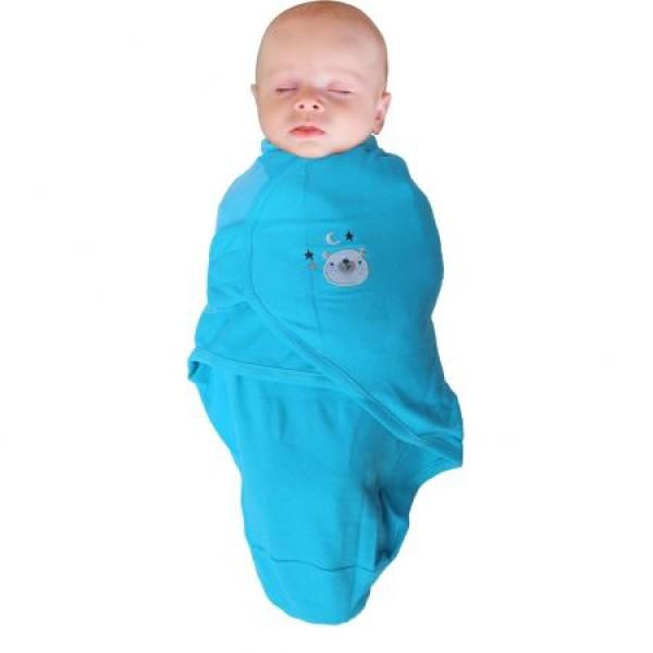 Body special bebelusi tip Wrap BO Jungle Ursulet Albastru S 3-6 kg din bumbac 0
