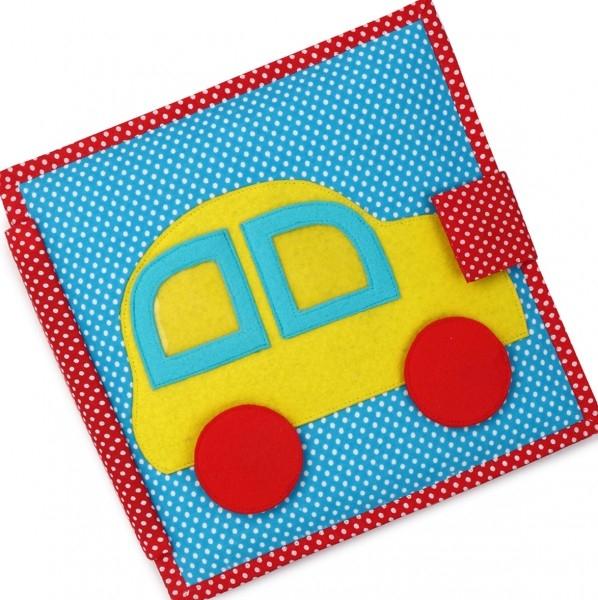 Carti educative din fetru cu activitati pentru bebelusi si copii The Fast Car - Quiet books - solutia ideala pentru deplasari cu masina sau avionul 0