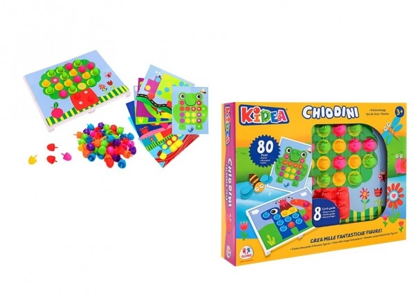 Joc creativ cu butoni colorati tip pioneze Globo Kidea 80 piese cu 8 sabloane