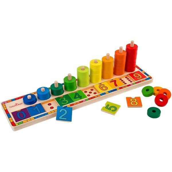 Joc creativ din lemn pentru copii Globo Legnoland tip puzzle si cerculete colorate pentru numarat 0