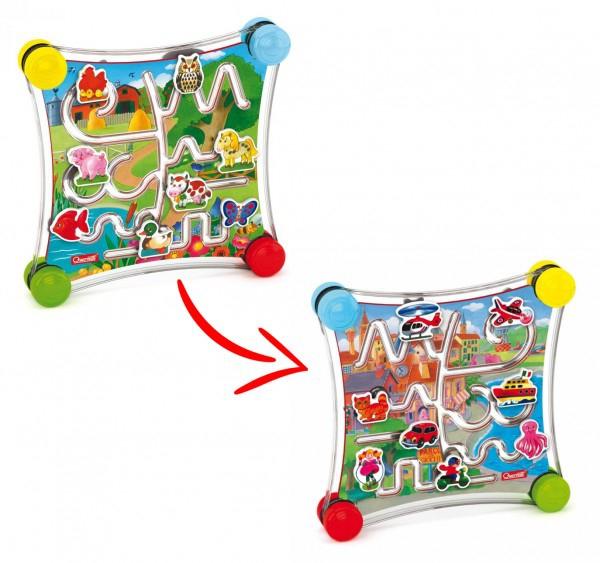 Joc creativitate si indemanare Quercetti Puzzle Labirint cu 2 fete Masini si animale 0