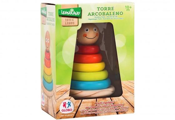 Joc de stivuit din lemn pentru bebelusi turn cu cercuri colorate 0