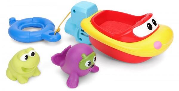 Jucarie de baie pentru copii Winfun Barcuta cu 2 animale cauciuc 0