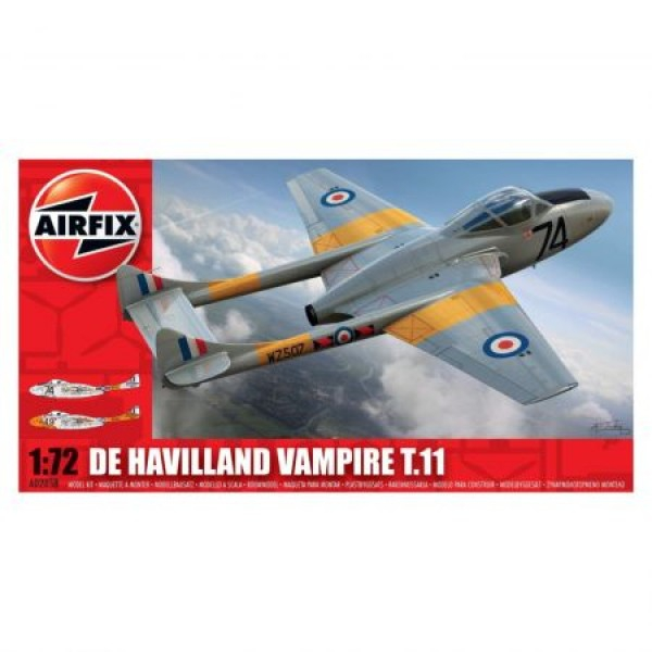 Kit aeromodele Airfix 02058 Avion De Havilland Vampire T.11 Scara 1:72