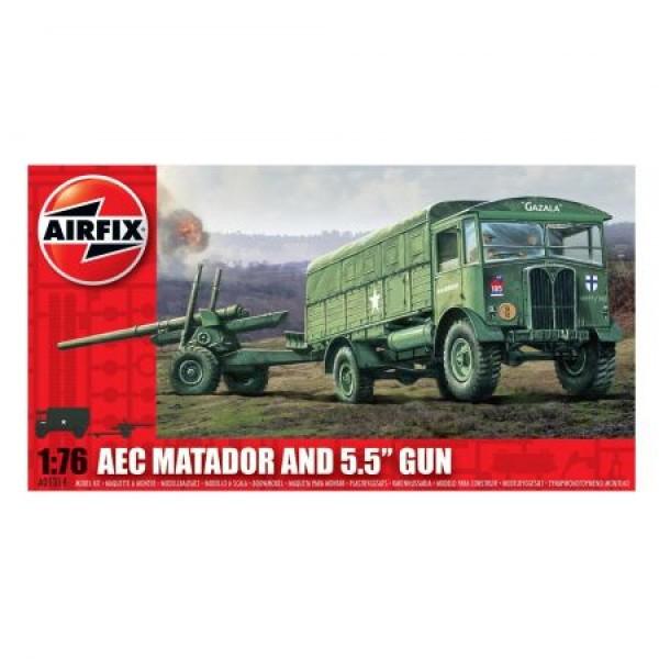 """Kit automodele Arifix 01314 Camion AEC Matador and 5.5"""" Gun Scara 1:76"""