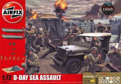 Kit constructie si pictura scena de lupta Asaltul pe mare Aniversare 100 ani WWII D-Day