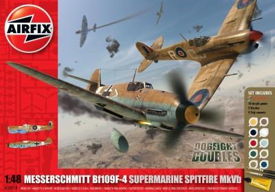 Kit constructie si pictura Set 2 avioane Messerschmitt Bf109F-4 si Supermarine Spitfire MkVb Dogfight Doubles