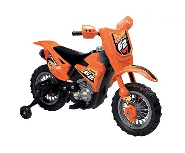 Motocicleta electrica pentru copii Enduro Motocross 6V portocalie cu telecomanda control parinte 0