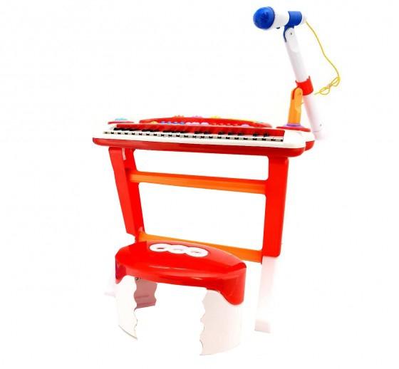 Orga muzicala cu microfon 37 taste si 8 ritmuri muzicale cu scaunel inclus 0