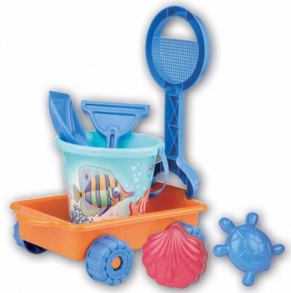 Roaba din plastic cu maner pentru copii Androni Crazy Fish cu galetusa si accesorii