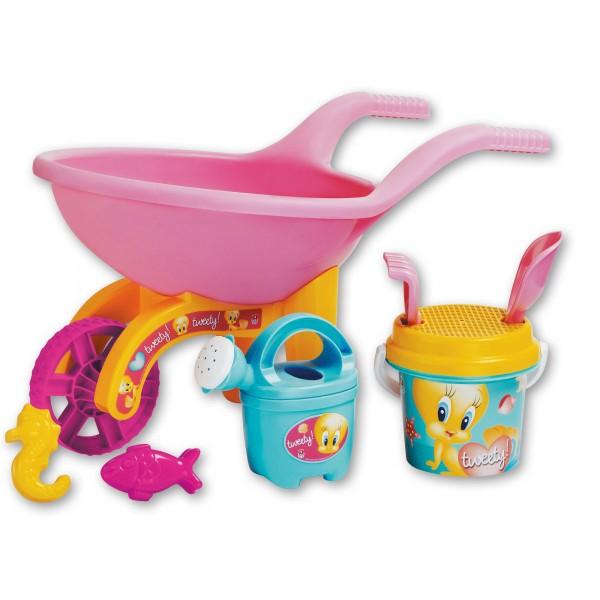 Roaba Tweety Androni pentru copii cu galetusa stropitoare si alte accesorii plaja
