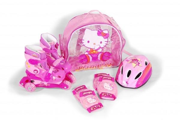 Role copii Saica reglabile 31-34 Hello Kitty cu protectii si casca in ghiozdan