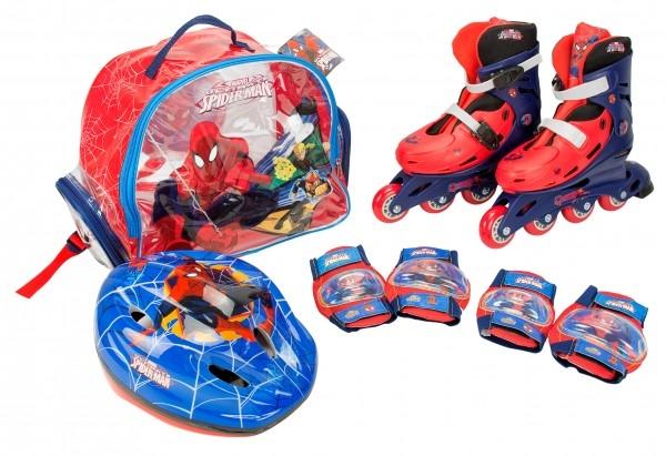 Role copii Saica reglabile 31-34 Spiderman cu protectii si casca in ghiozdan