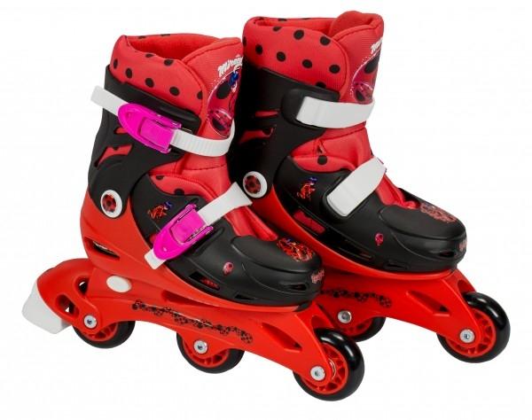 Role pentru copii cu 3 roti Saica 5834 Ladybug marime reglabila 35-38 roti interschimbabile frana de picior