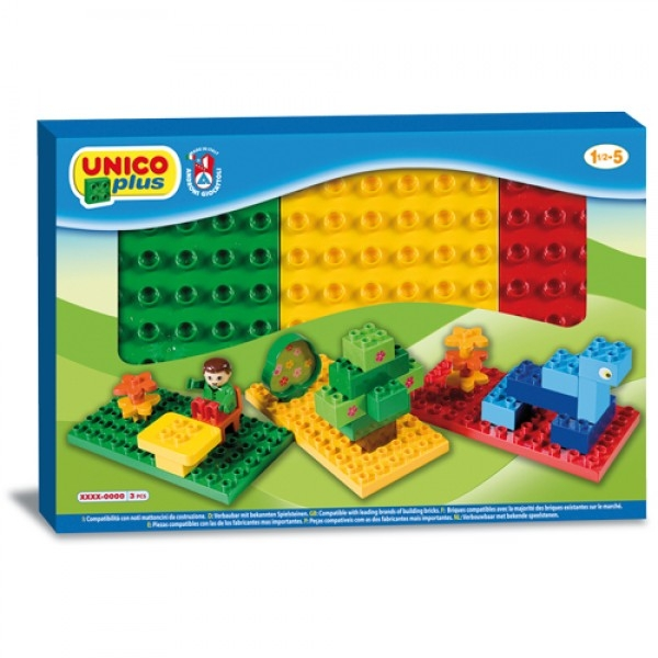 Set 3 placi Unico pentru constructie colorate 0