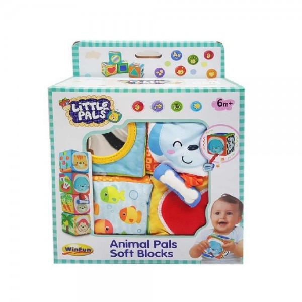 Set 4 cuburi stivuibile Winfun din material textil multicolore pentru bebelusi 0