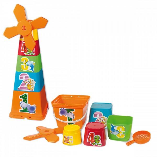Set constructie copii piramida Adroni cu galetuse si forme pentru nisip