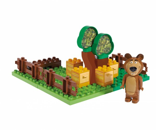 Set constructie cuburi Unico Masha si Ursul Galetusa cuburi Gradina Mishei 21 piese 0