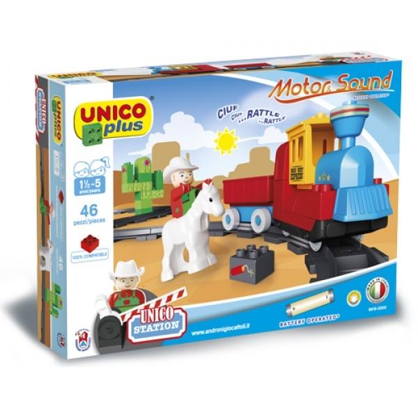 Set constructie Unico Plus Trenulet Vestul salbatic cu baterii sunete 46 piese 0