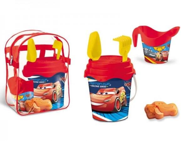 Set plaja Cars Mondo pentru copii cu ghiozdanel, jucarii plaja si galetusa