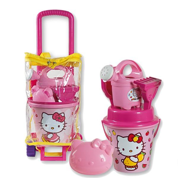 Troller cu ghiozdanel Hello Kitty Androni pentru copii cu jucarii plaja si nisip si galetusa